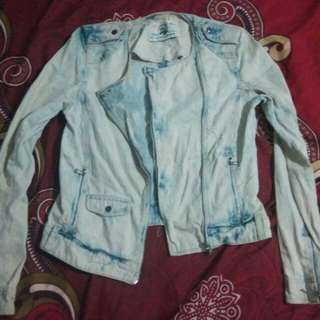 Jaket jeans cewe zara TRF premium wash denim wear rock'n roll perfecto