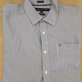 Tommy Hilfiger Blue Striped Button Up