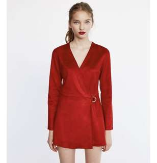ZARA NEW RED FAUX SUEDE MINI SEXY JUMPSUIT DRESS V NECK