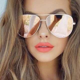 Brand New Quay Vivienne Rose Gold Mirrored Aviator Sunglasses RRP SGD$78 US$60