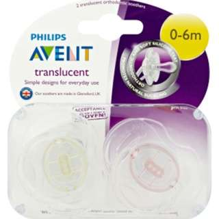 Philips Avent translucent Soothers (0-6m)