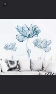 🎉New Arrival 2 in 1 Large Size Fresh Blue flower wall stickers creative bedroom room warm background wall decorative stickers self-adhesive stickers home decor