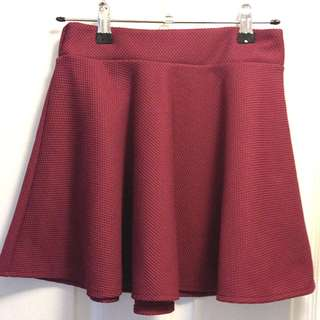 Women's Wine Red Elastic Waist Flared Skater Skirt [AU 8]