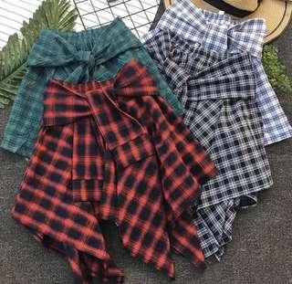 2018 spring and summer ulzzang elastic waist irregular plaid skirt