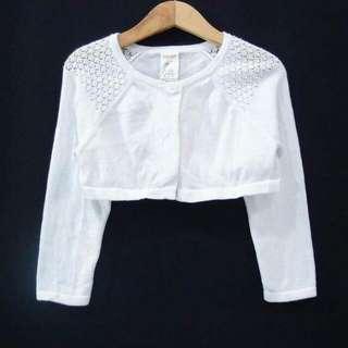 Bolero Cardigan White Knit Teenage Kids Putih
