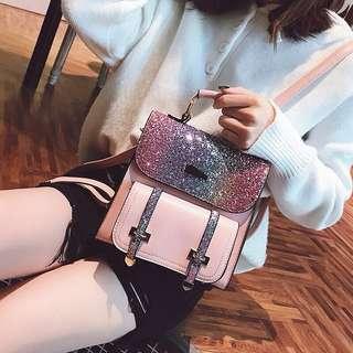 【F960】New sequin simple wild backpack handbag