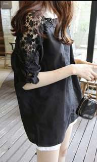 laced sleeve shirt