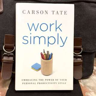 # Highly Recommended《Bran-New + Hardcover Edition + How To Manage Time & Productivity》Carson Tate - WORK SIMPLY : Embracing the Power of Your Personal Productivity Style