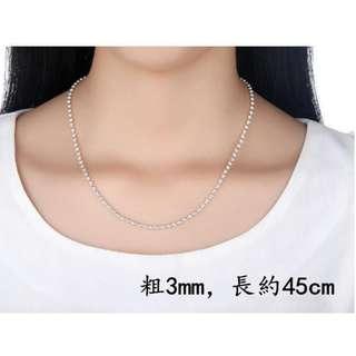 DP雜貨鋪 999純銀 加厚純銀珠子項鏈 女生/男生項鏈 毛衣鏈 多尺寸多款式任選 可定制