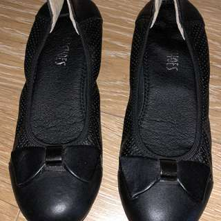 Titikaka Genuine Italy Leather Bow Black Ballet Comfort Foam Flats [AU 7]