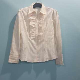 Kemeja Lengan Panjang Ruffle Broken White Strip Pink #123moveon