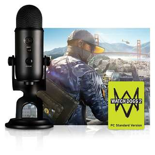 <New Arrival> Blue Yeti USB Microphone BLACKOUT + Watch Dog 2 PC Game Code Bundle