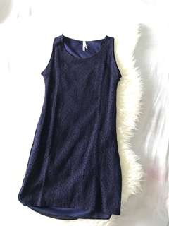 Mini dress brukat biru dongker