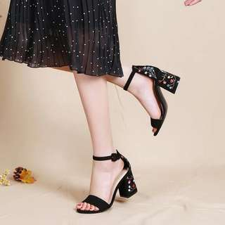 PO: embroidered floral suede open toes heels