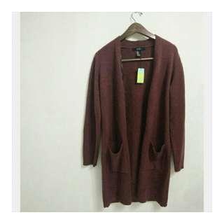 FOREVER21 Burgundy Long Sweater