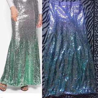 Gradient sequin mermaid skirt