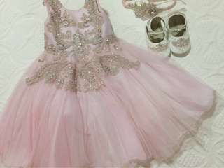 Pink Birthday Dress with matchy shoes & head dress