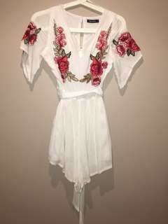 Floral embroidered playsuit size 8