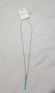 Forever 21 gold and turquoise long necklace