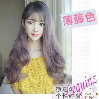 New Fluffy Big Wavy Air Bangs Natural Black Ash Pink Brownish Full Head Wig