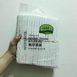 屈臣氏 輕巧柔軟細緻 袖珍衛生紙 10抽36包
