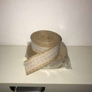 Burlap lace ribbon [wedding deco]