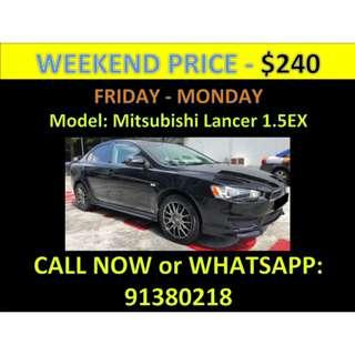Mitsubishi Lancer 1.5EX Weekend Car Rental