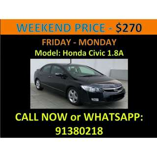 Honda Civic 1.8A Weekend Car Rental March