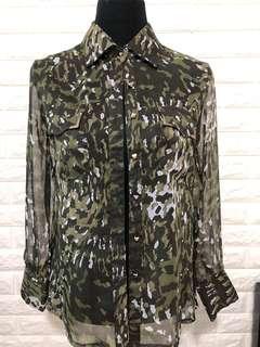Sheer Camouflage Long Sleeve Polo
