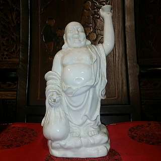 Chinese White Porcelain  Vintage Piece Of Laughing  Buddha