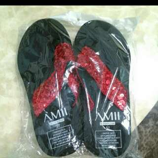 Red Shinny Slippers Size 37