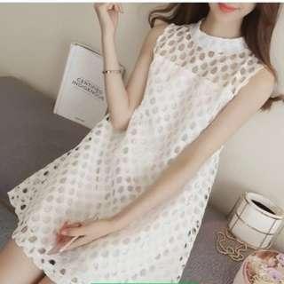 PO Hollow Square Pattern Sleeveless Dress 2 Colour