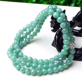 缅甸天然翡翠A货 绿色108颗珠链