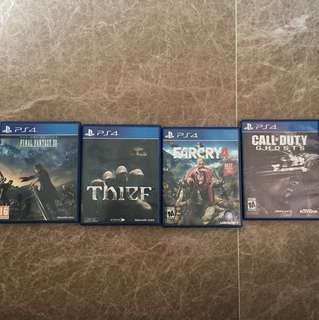 PS4 Games FFXV, Far Cry 4, COD Ghosts Thief. Mint condition. $65 for all.