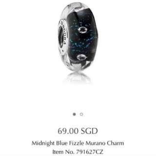 Pandora Midnight Blue Fizzle Murano Charm