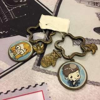 Handmade Vintage Wood Keychain (Couple) 2