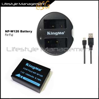 Fujifilm NP-W126 Battery Dual USB Charger For Fuji Camera Batteries Charging
