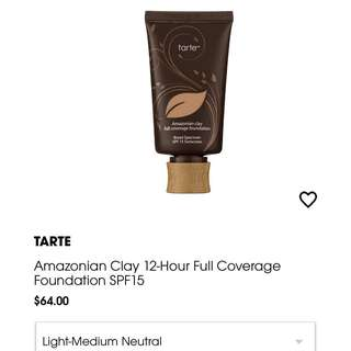 Authentic Tarte Amazonian Clay 12-Hour Full Coverage Foundation SPF15