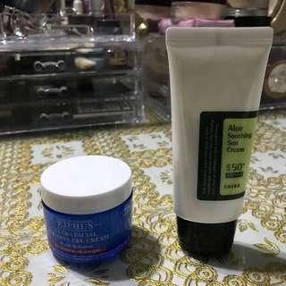 kiehl's moisture & cosrx sun cream