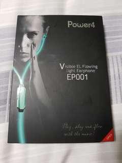 Power4 visible EL flowing light earphone EP001