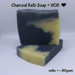 Charcoal Kefir Soap + Vco / Sabun Kefir Arang Bambu
