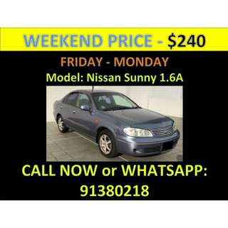 Nissan Sunny 1.6A Weekend Car Rental March