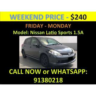 Nissan Latio 1.5A Sports Weekend Car Rental March