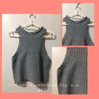 gray halter cropped top
