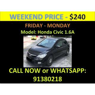 Honda Civic 1.6A Weekend Car Rental March