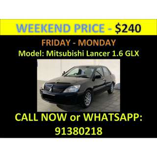 Mitsubishi Lancer 1.6A GLX Weekend Car Rental March