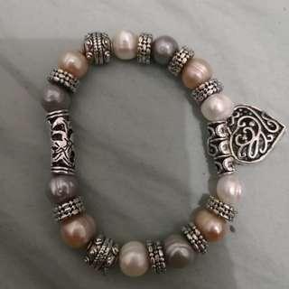 Pandora style Genuine pearl bracelet