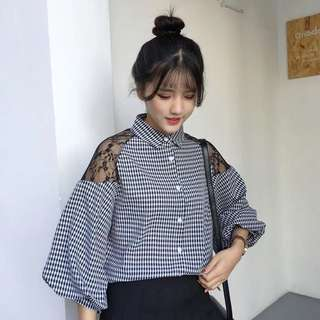 Po: Lace shoulder checkered blouse