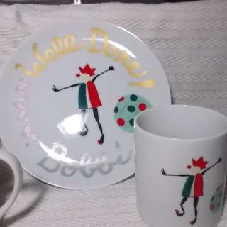Clown Design Plate and Mug Set