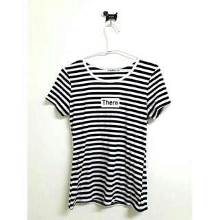 🚚 韓版黑白條紋短袖上衣 短袖t恤